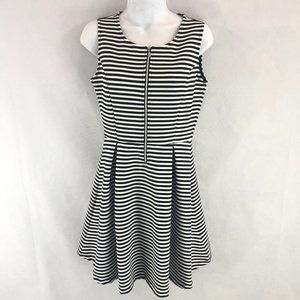 Attention Skater Black White Striped Dress Small